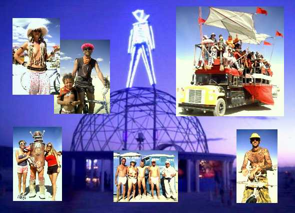Collage of pictures from Burning Man 2004